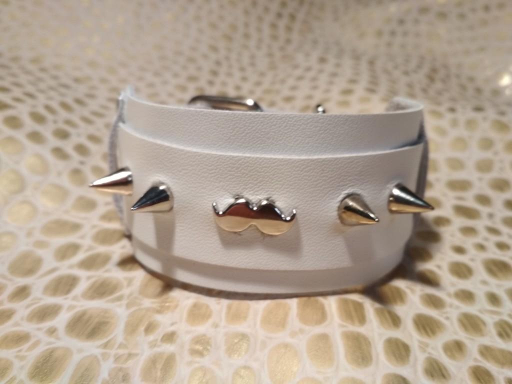 Кожаный браслет из белоснежной натуральной кожи с «усами»